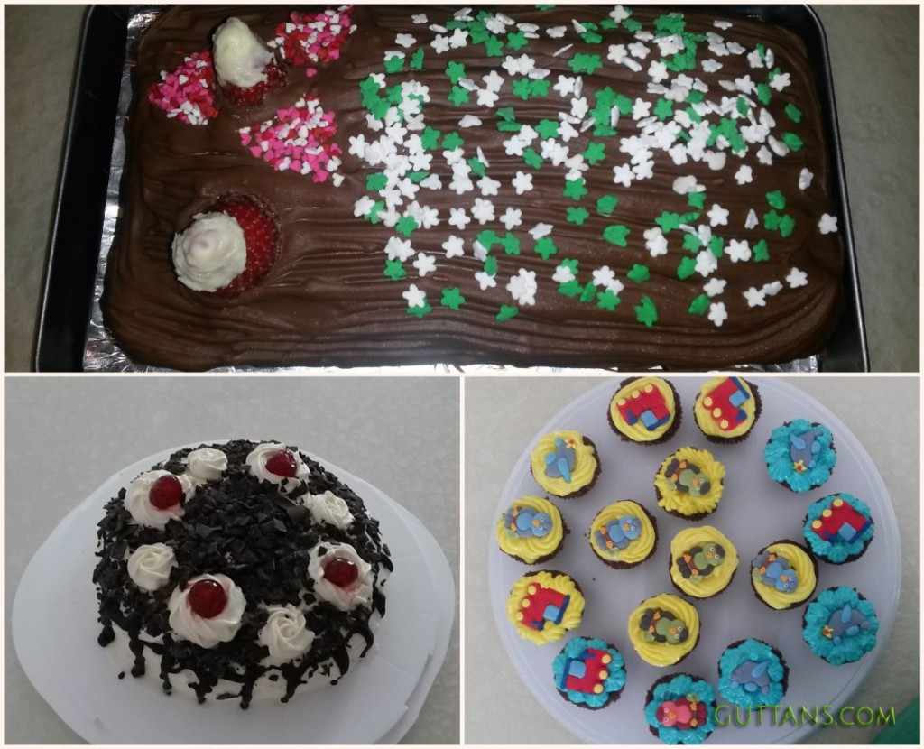 CHRISTMAS YULE LOG CAKE ~~ ANGRY BIRD CUPCAKES ~~ BLACK FOREST CAKES